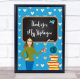 Teacher Thank You School White Lady Hearts Personalised Wall Art Print