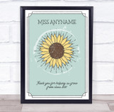 Vintage Sunflower Pretty Border Thank You Personalised Wall Art Print