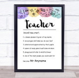Watercolour Teacher Dictionary Definition Personalised Wall Art Print