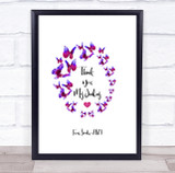Thank You Teacher Pink & Purple Butterfly Personalised Wall Art Print