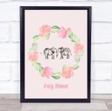 Elephant Floral Wreath Peach Watercolour Personalised Wall Art Print
