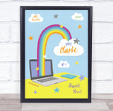 Thank You Teacher Bright Laptop Rainbow Personalised Wall Art Print