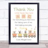 Cute Baby Animals ABC Thank You Nursery Personalised Wall Art Print