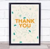 Thank You Green Science Beakers Atoms Personalised Wall Art Print