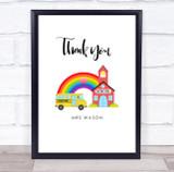 Thank You Teacher School Bus Rainbow Personalised Wall Art Print