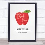 Thank You Teacher Apple Watercolour Personalised Wall Art Print