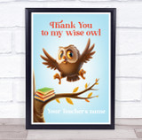 Thank You To My Wise Owl Tree Books Personalised Wall Art Print