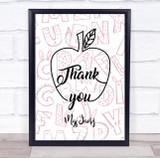 Thank You Teacher Characters Apple Personalised Wall Art Print
