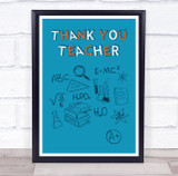 Thank You Teacher Science Sketches Personalised Wall Art Print