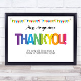 Teacher Thank You Rainbow Letters Personalised Wall Art Print
