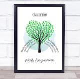 Thank You Green Hand Tree Teacher Personalised Wall Art Print