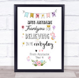 Thank You Teacher Floral Magical Personalised Wall Art Print