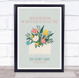 Thank You Teacher Pretty Flowers Personalised Wall Art Print