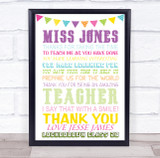 Multicolour Bunting Poem Teacher Personalised Wall Art Print