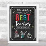 Chalk Best Teacher In The World Personalised Wall Art Print