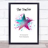 Star Teacher Cosmic Splatter Personalised Wall Art Print
