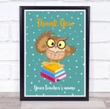 Owl On Books Thank You Card Personalised Wall Art Print