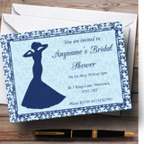 Blue Classic Vintage Customised Bridal Shower Party Invitations