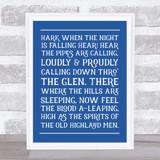 Scotland The Brave Funky Lyrics Wall Art Print