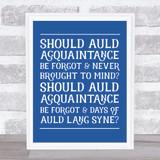 Auld Lang Syne Funky Lyrics Wall Art Print