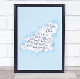 Guernsey Blue Watercolour Wall Art Print