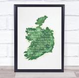 Ireland Green Watercolour Wall Art Print