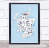 Scotland Blue Watercolour Wall Art Print