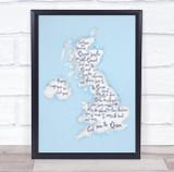 U.K Blue Watercolour Wall Art Print