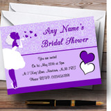 Purple Bride Hearts Customised Bridal Shower Party Invitations