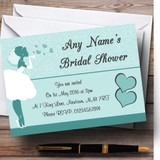 Turquoise Aqua Bride Hearts Customised Bridal Shower Party Invitations