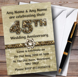 Titanium Gold Sparkly 45Th Customised Anniversary Party Invitations