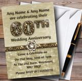 Titanium Gold Sparkly 60Th Customised Anniversary Party Invitations