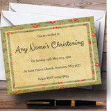 Vintage Shabby Chic Floral Postcard Style Christening Party Customised Invitations