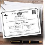 Vintage Telegram Elegant White Christening Party Customised Invitations