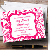 White & Pink Swirl Deco Christening Party Customised Invitations