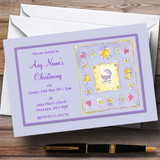 Adorable Lilac Purple Cute Christening Party Customised Invitations