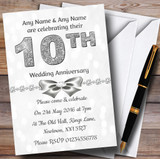 White Bokeh & Silver Glitter Look 10Th Customised Anniversary Party Invitations