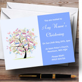 Baby Tree Boy Blue Christening Party Customised Invitations