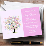 Baby Tree Pink Girl Christening Party Customised Invitations
