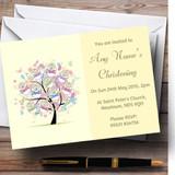 Baby Tree Unisex Yellow Christening Party Customised Invitations