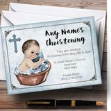 Vintage Baby Boy In Tub Customised Christening Invitations