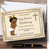 Baby Boy Dark Skin Christening Party Customised Invitations