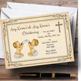 Baby Twins Vintage Christening Party Customised Invitations