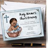 Vintage Baby Boy Dark Skin Customised Christening Invitations