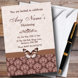 Brown Fawn Beige Vintage Floral Damask Butterfly Customised Christening Invitations