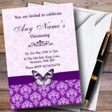 Cadbury Purple Vintage Floral Damask Butterfly Customised Christening Invitations