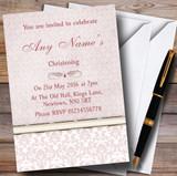 Dusky Rose Pink Damask Vintage Pearl Customised Christening Invitations