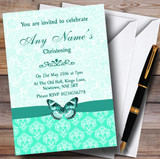 Mint Green Vintage Floral Damask Butterfly Customised Christening Invitations