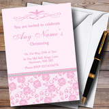Pretty Baby Rose Pink Floral Diamante Customised Christening Invitations