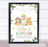 Jungle Baby Animals Name & Date Baptism Personalised Event Party Decoration Sign